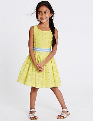 Pure Cotton Sleeveless Dress (1-10 Years), BRIGHT YELLOW, catlanding