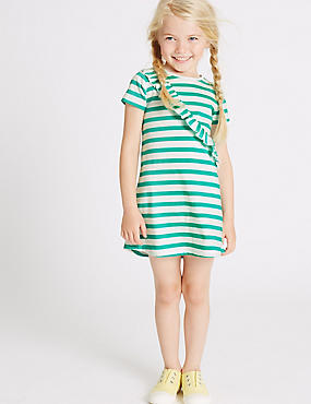 Gestreiftes Kleid aus reiner Baumwolle (3 Monate–5 Jahre), GRÜN MELANGE, catlanding