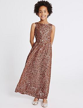Sequin Dress (6-14 Years), PINK, catlanding