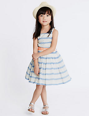 Cotton Rich Striped Dress (1-10 Years), BLUE MIX, catlanding