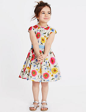 Pure Cotton Floral Print Dress with Belt (1-10 Years), MULTI, catlanding
