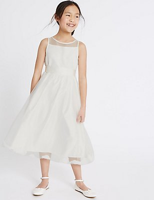 Longer Length Petal Hem Dress (1-14 Years), IVORY, catlanding