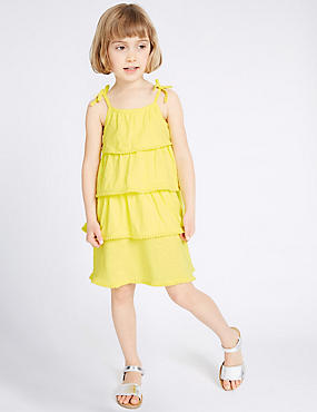 Jersey-jurk van puur katoen (3 maanden-5 jaar), GEEL, catlanding