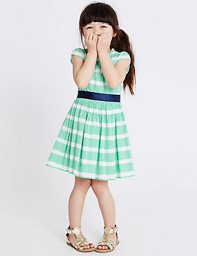 Cotton Rich Striped Dress (1-10 Years), LIGHT GREEN MIX, catlanding