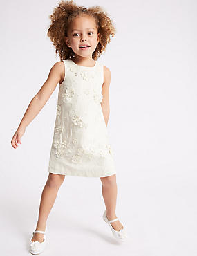 Embroidered Shift Dress (3-16 Years), IVORY, catlanding