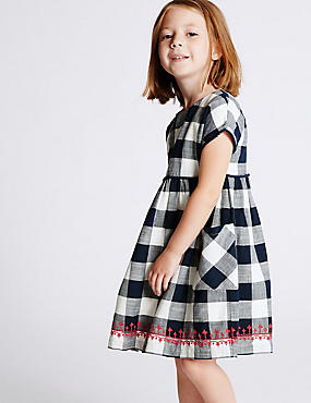 Pure Cotton Checked Dress (3 Months - 5 Years), BLUE MIX, catlanding