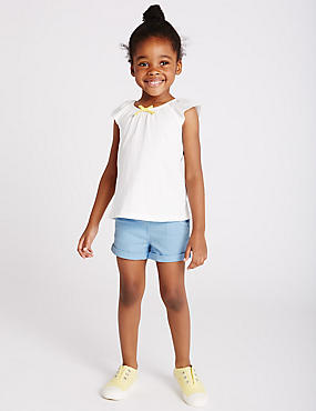 Cotton Denim Shorts with Stretch (3 Months - 5 Years), BLUE MIX, catlanding