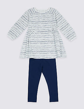 2 Piece Bow Detail Outfit (3 Months- 5 Years), BLUE MIX, catlanding