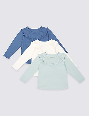 3 Pack Pure Cotton Frill Detail Tops (3 Months - 5 Years), BLUE MIX, catlanding