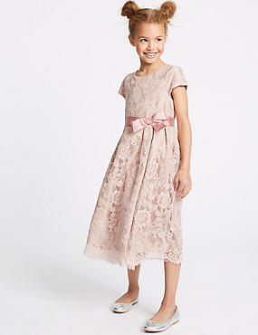 Lace Bow Dress (1-16 Years), PEACH, catlanding