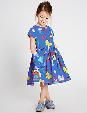 Pure Cotton Prom Dress (3 Months - 5 Years), BLUE MIX, catlanding