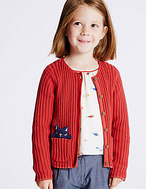 Pure Cotton Cardigan with StayNEW™ (3 Months - 5 Years), RED, catlanding