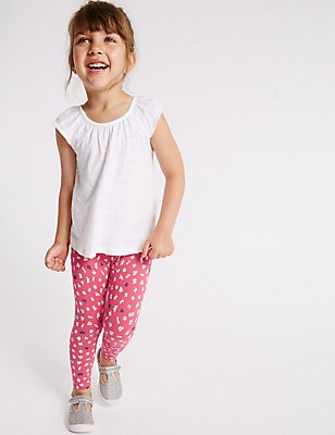 Printed Cotton Leggings with Stretch (3 Months - 5 Years), PINK, catlanding