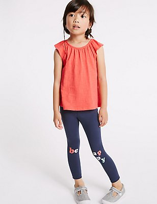 Embossed Cotton Leggings with Stretch (3 Months - 5 Years), NAVY, catlanding