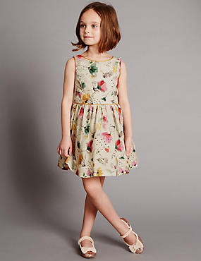 Pure Cotton Floral Prom Dress (1-7 Years)
