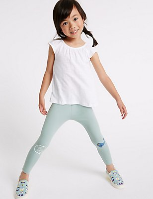 Cotton Leggings with Stretch (3 Months - 5 Years), AQUA, catlanding