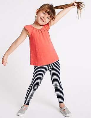 Striped Cotton Leggings with Stretch (3 Months - 5 Years), NAVY MIX, catlanding