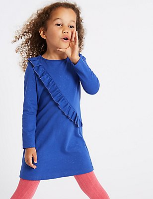 Pure Cotton Frill Jersey Dress (3 Months - 6 Years), BLUE, catlanding