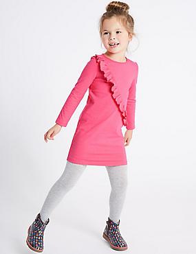 Pure Cotton Frill Jersey Dress (3 Months - 6 Years), PINK, catlanding