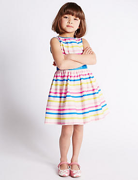 Pure Cotton Striped Prom Dress (1-7 Years)