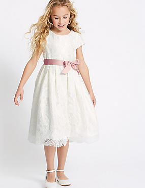 Lace Bow Dress (1-16 Years), IVORY, catlanding