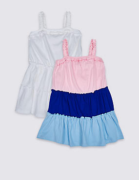 2 Pack Pure Cotton Dress (3 Months - 7 Years), BLUE MIX, catlanding
