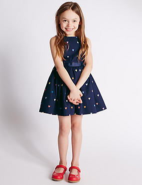 Pure Cotton Heart Print Prom Dress (1-7 Years)