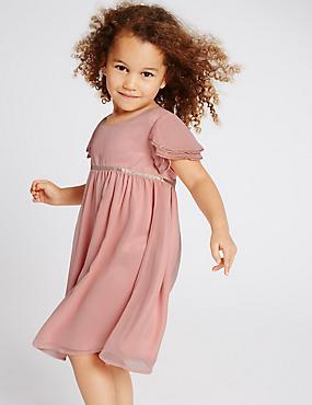 Chiffon Dress (1-14 Years), PINK, catlanding