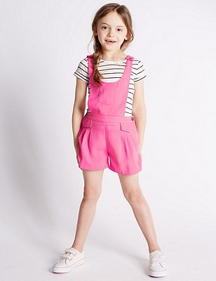 2 Piece Dungaree & T-Shirt Outfit (1-7 Years), NAVY, catlanding