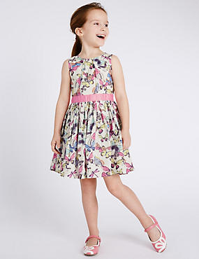Pure Cotton Butterfly Print Prom Dress with Belt (1-7 Years)