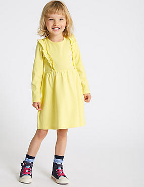 Pure Cotton Dress (3 Months - 7 Years), YELLOW, catlanding