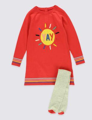 Вязаный комплект Yay для девочки 3 мес - 5 лет: платье и колготки T773244G