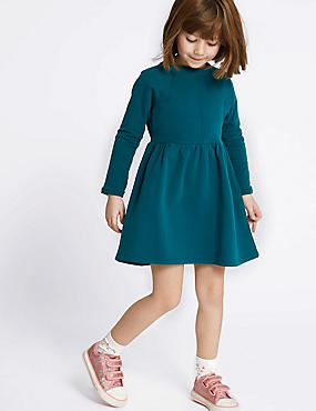 Frill Cotton Dress (3 Months - 7 Years), TEAL, catlanding