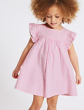 Checked Pure Cotton Dress (3 Months - 7 Years), PINK MIX, catlanding