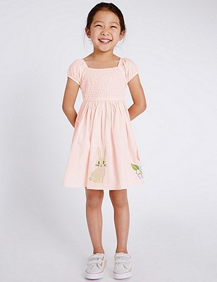 Pure Cotton Smocked Dress (1-7 Years), PINK MIX, catlanding