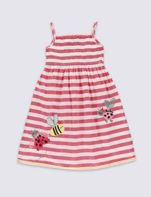 """Платье-макси из чистого хлопка на бретельках """"Божья коровка"""" для девочки 1-7 лет от Marks & Spencer"""