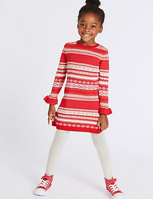 2 Piece Cotton Rich Knitted Dress with Tights (3 Months - 6 Years), BRIGHT RED, catlanding
