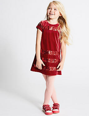 Striped Sequin Dress (1-10 Years), DARK RED MIX, catlanding