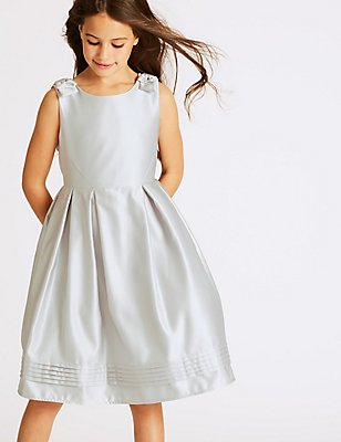 Bow Detailed Dress (1-14 Years), PEARL GREY, catlanding