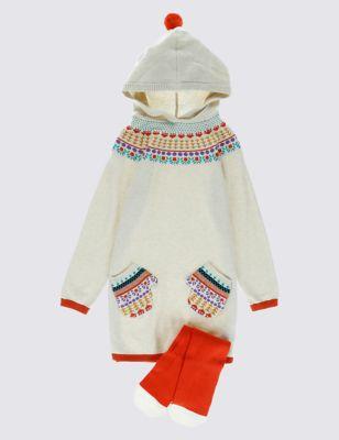 Комплект Intarsia: вязаное платье и колготки для девочки 1-7 лет T773257D