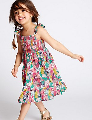 Pure Cotton All Over Print Dress (3 Months - 5 Years), MULTI, catlanding