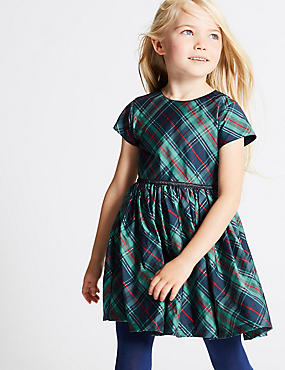 Checked Dress (1-10 Years), NAVY MIX, catlanding