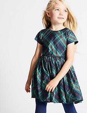 Short Sleeve Checked Dress (1-10 Years), NAVY MIX, catlanding