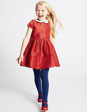 Peter Pan Collar Dress (1-10 Years), RED MIX, catlanding
