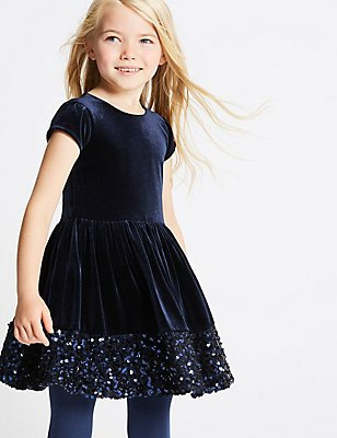 Sequin Velvet Dress (1-10 Years), NAVY, catlanding