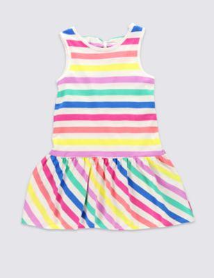 Платье из чистого хлопка в яркую цветную полоску для девочки 1-7 лет