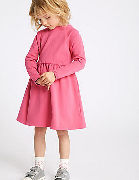 Frill Cotton Dress (3 Months - 7 Years), PINK, catlanding