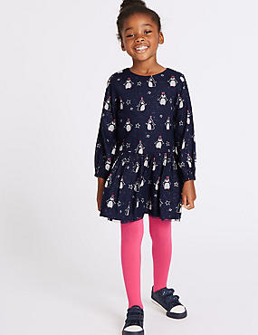 2 Piece Printed Dress with Tights Outfit (3 Months - 6 Years), NAVY MIX, catlanding