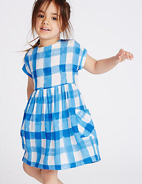 Checked Print Dress (3 Months - 5 Years), BLUE MIX, catlanding