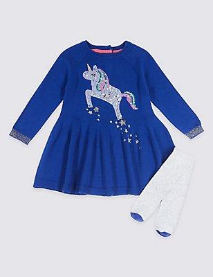Outfit aus Kleid mit Strumpfhose und Einhornmotiv im Paillettendesign (3 Monate–6 Jahre), BLAU MELANGE, catlanding